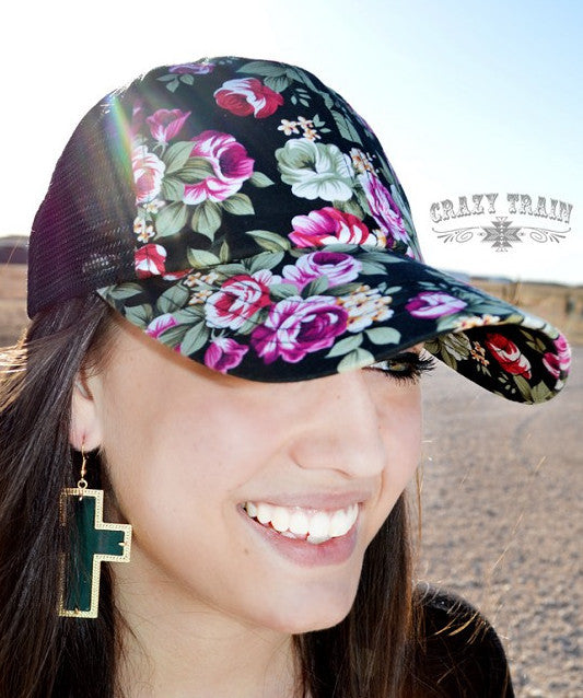 Floral Rose Queen Baseball Hat - Black