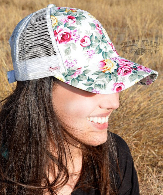 Floral Rose Queen Baseball Hat - White