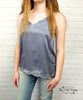 Satin Scallop Edge Cami - Slate Blue
