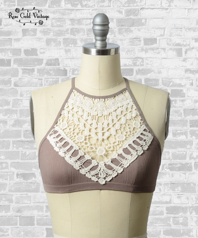 Crochet Lace High Neck Bralette - Mocha
