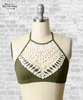 Crochet Lace High Neck Bralette - Olive