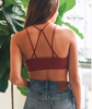 Floral Cut Out Seamless Bralette - Rust