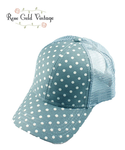 CC Polka Dot Baseball Hat - Denim