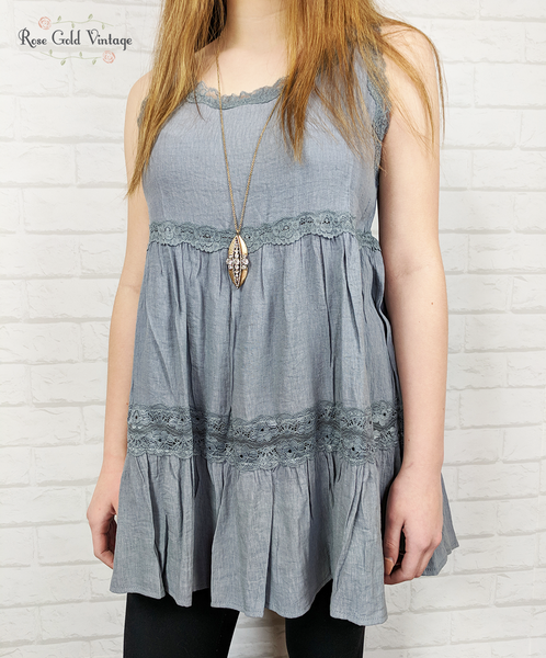 Babydoll Lace Trim Tunic - Blue Gray
