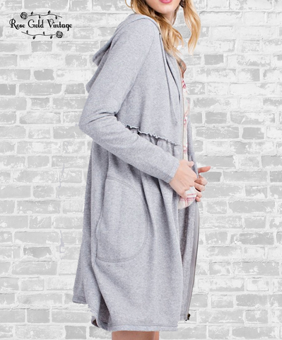 Long Babydoll Hoodie - Heather Gray