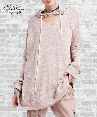 Cutout Vintage Washed Hoodie - Blush Pink