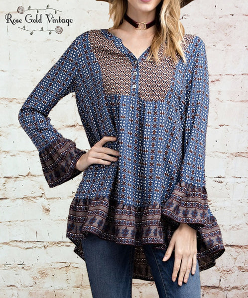 Mixed Print Boho Ruffle Top - Blue