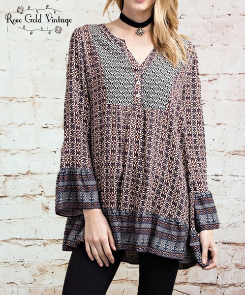 Mixed Print Boho Ruffle Top - Taupe