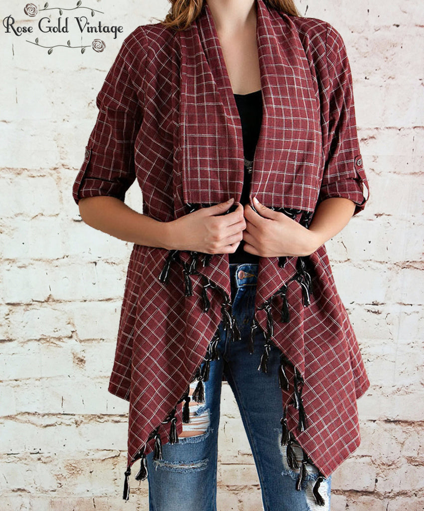 Fall Plaid Fringe Cardigan - Brick
