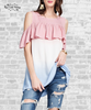 Cold Shoulder Ombre Ruffle Top - Vintage Rose