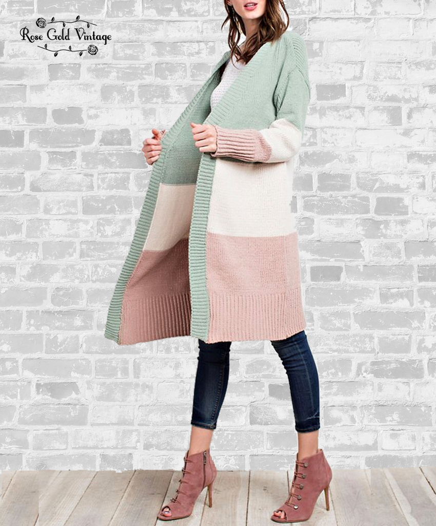 Color Blocked Long Sweater - Pastel