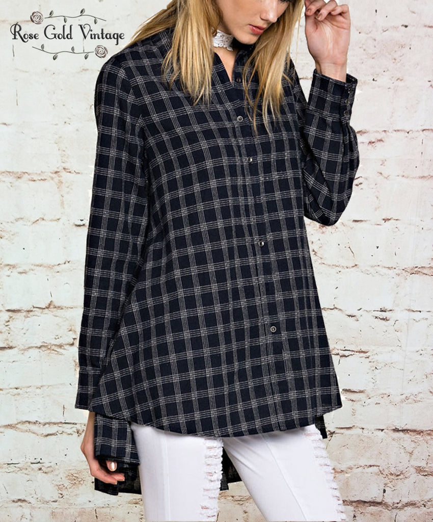 Plaid Ruffle Shirt - Navy