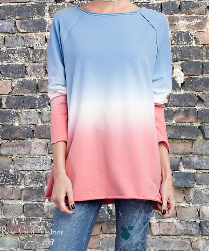 Ombre Soft Terry Tunic - Blue/Blush