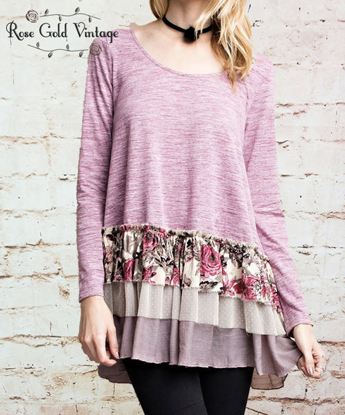 Floral Ruffled Tunic Top - Pink