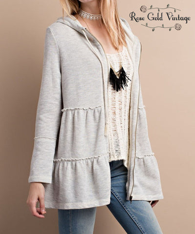 Babydoll Zip Hoodie - Heather Gray