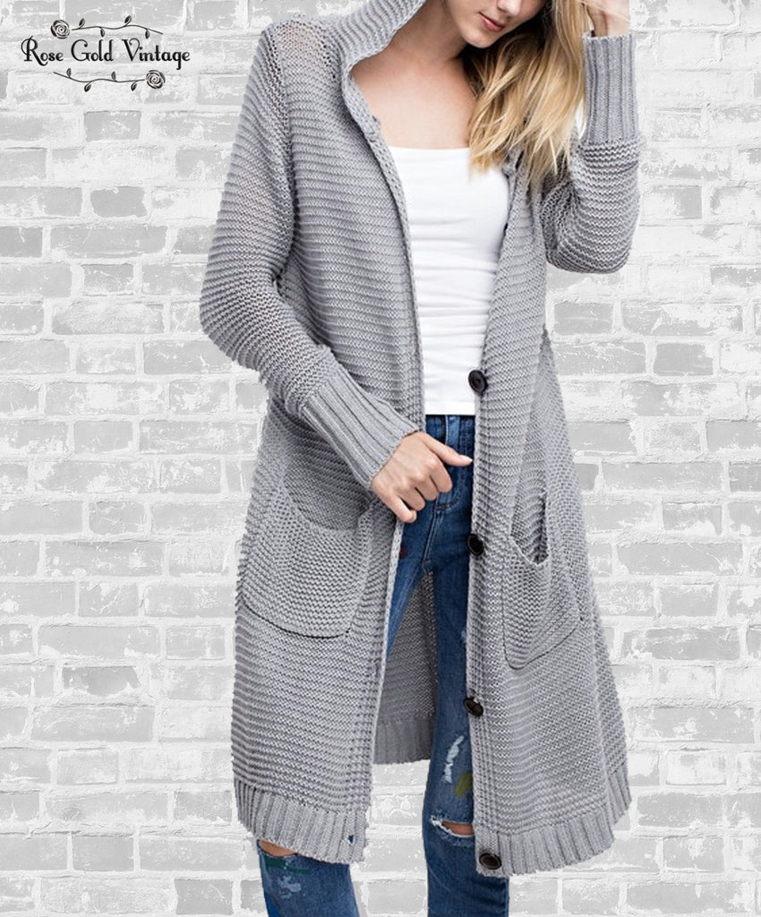 Long Hooded Pocket Sweater - Gray, Oatmeal or Black