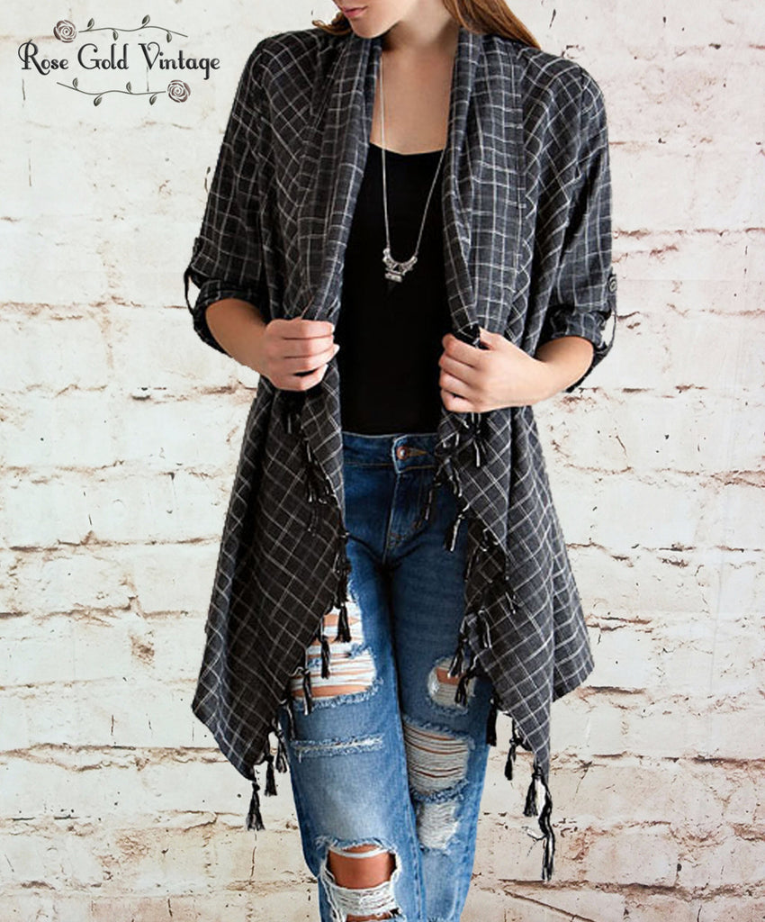 Fall Plaid Fringe Cardigan - Charcoal