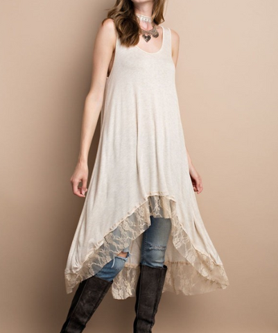 Lace Trim Layering Dress - Oatmeal