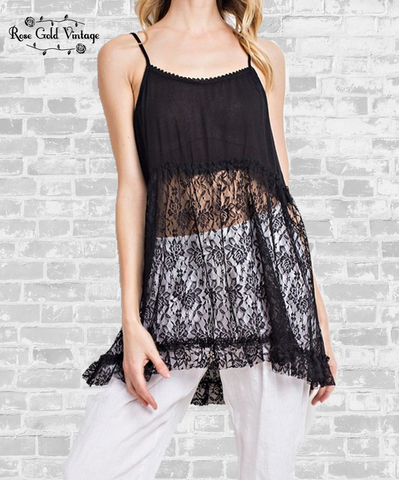 Romantic Ruffle Lace Cami - Black