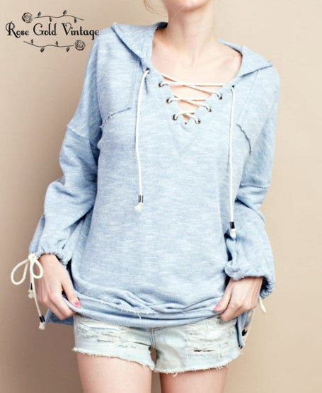 Lace Up Hoodie - Washed Blue
