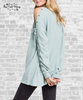 Lace Up Fleece Tunic - Sage