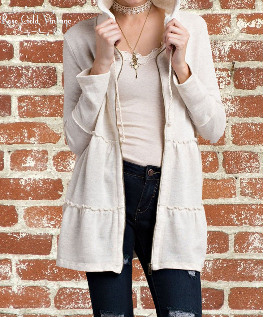 Babydoll Zip Hoodie - Oatmeal Heather