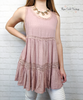 Babydoll Lace Trim Tunic - Blush Pink