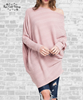Asymmetrical Knit Poncho Top - Vintage Rose