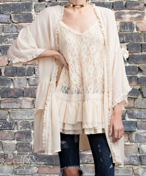 Double Ruffle Open Cardigan - Natural