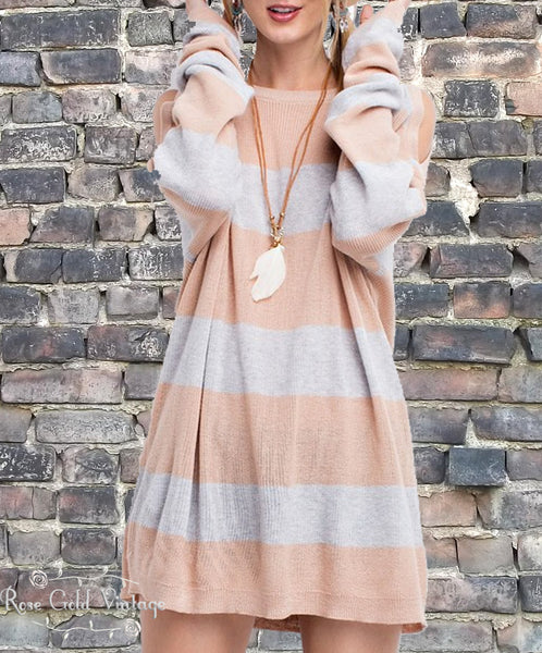 Cold Shoulder Sweater Tunic - Natural