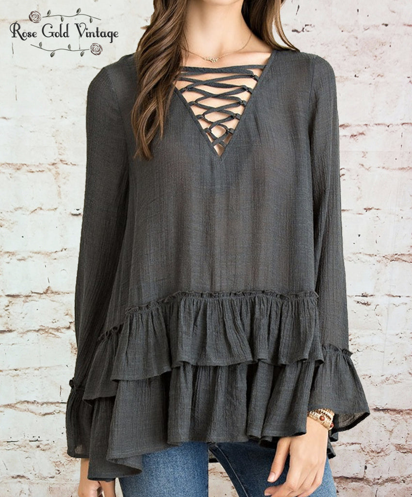 Lace Up Boho Ruffle Top - Charcoal