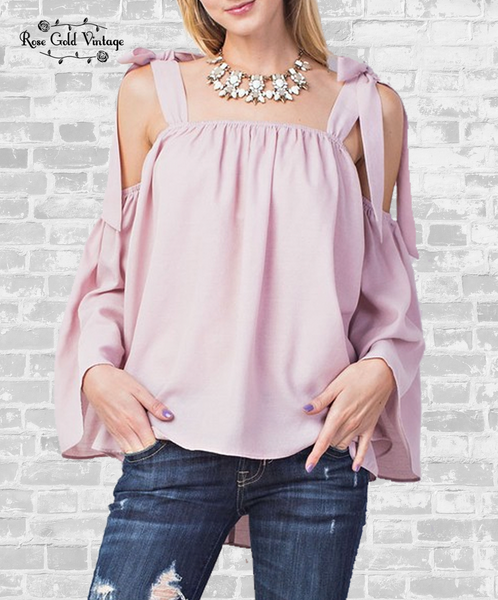 Breezy Tie Shoulder Top - Light Mauve