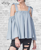 Breezy Tie Shoulder Top - Light Blue