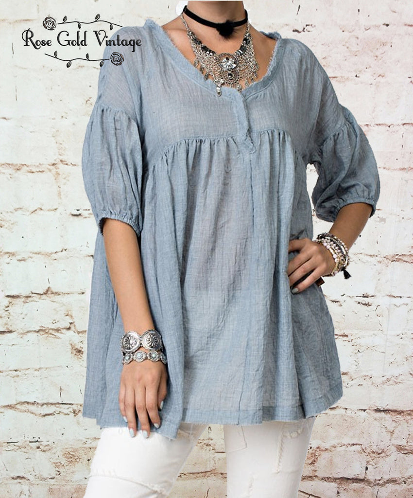 Raw Edge Bohemian Peasant Top (Ladies)