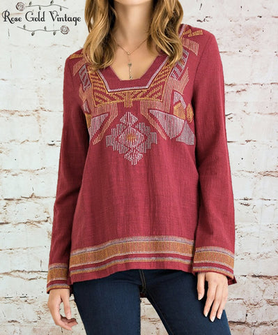 Aztec Embroidered Tunic - Burgundy