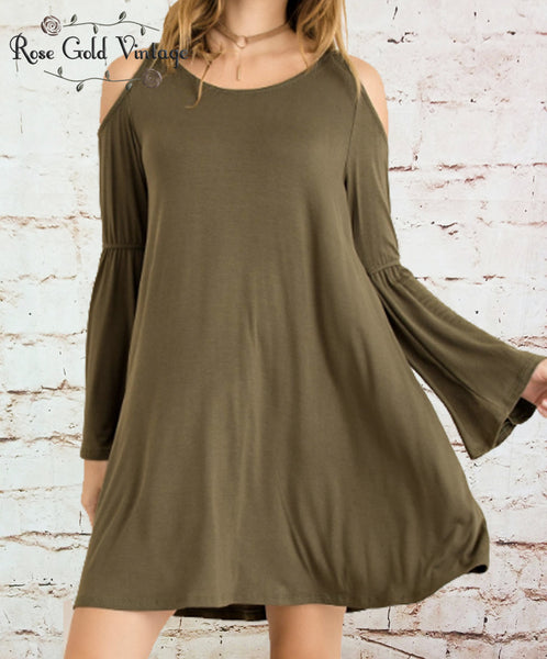 Bamboo Cold Shoulder Dress - Olive