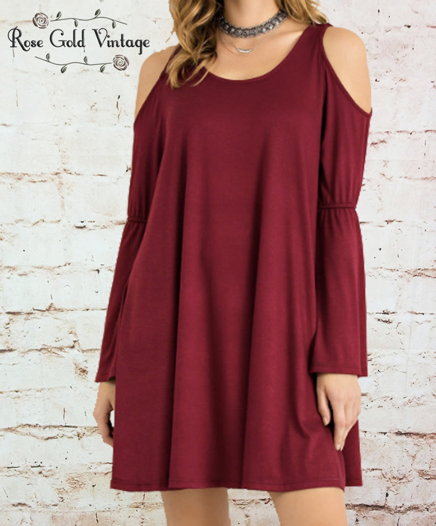Bamboo Cold Shoulder Dress - Wine