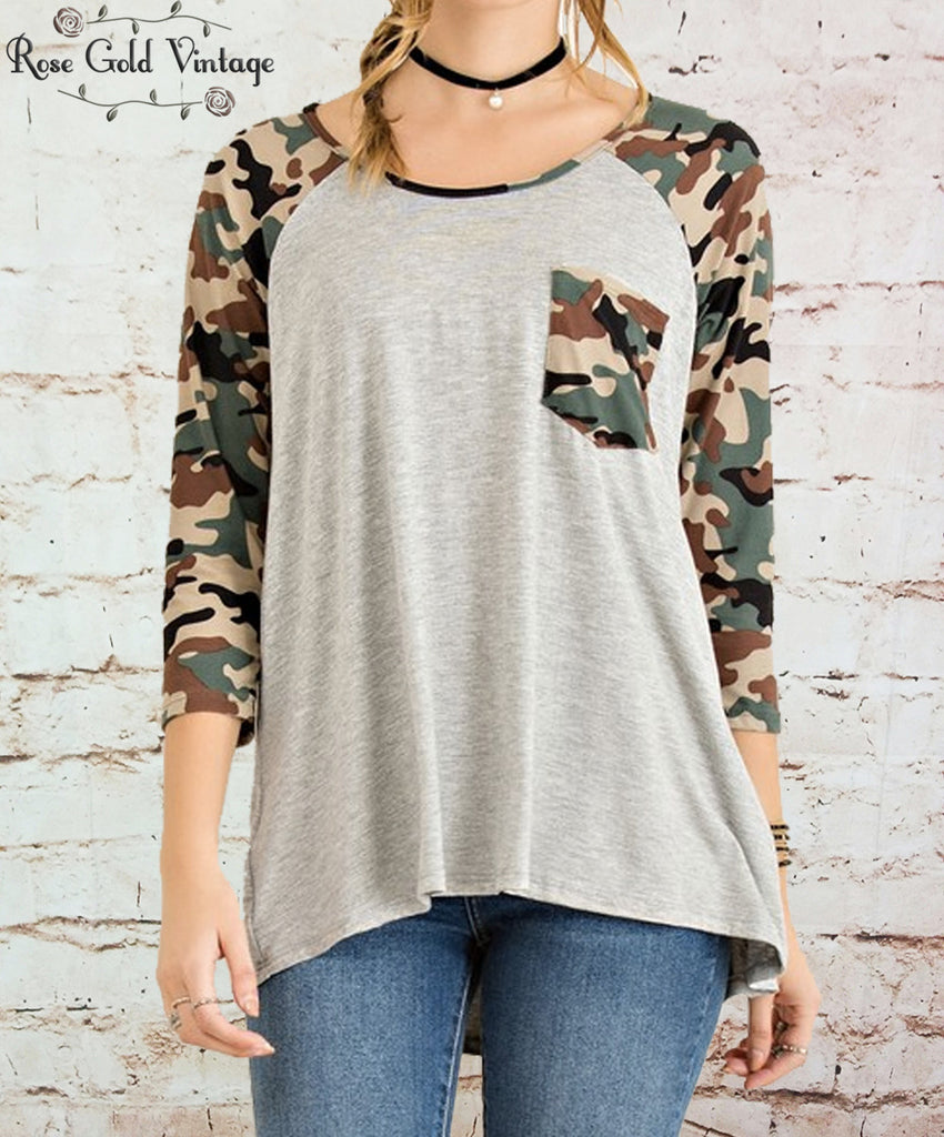 Camo Pocket Raglan Tee - Gray