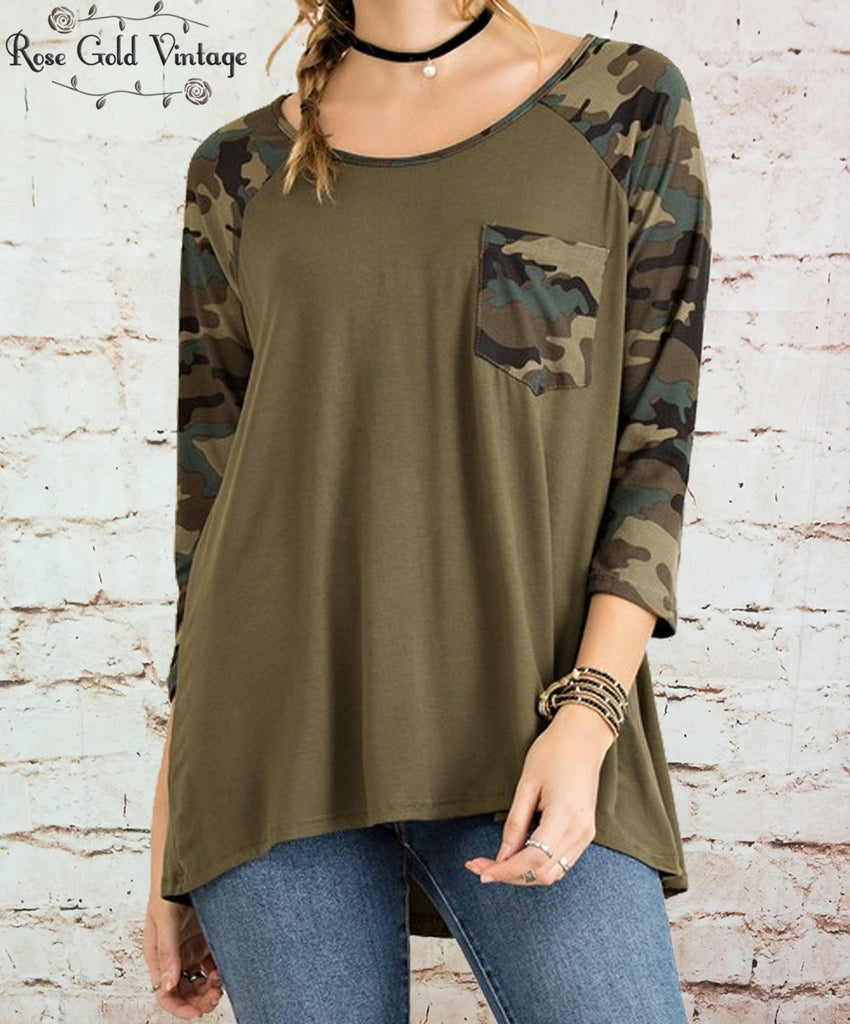 Camo Pocket Raglan Tee - Green