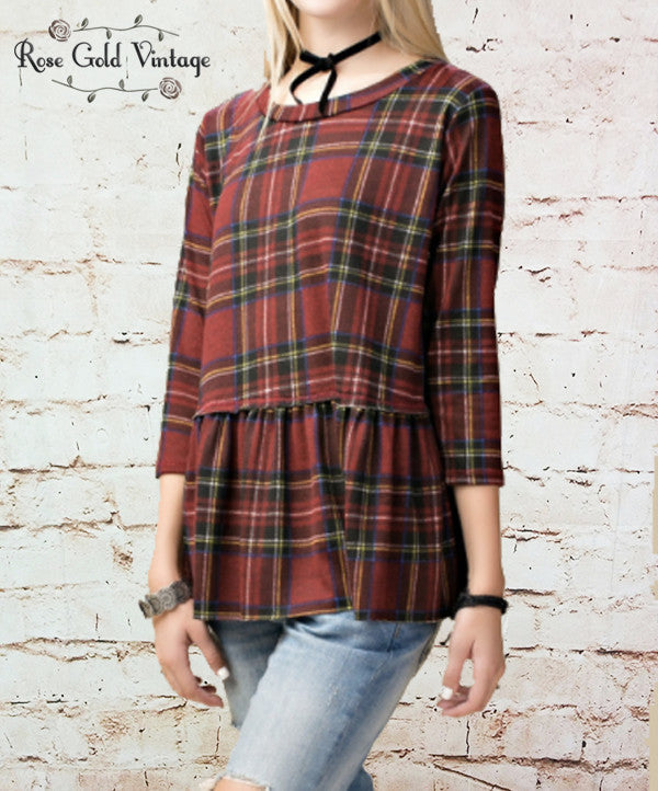 Plaid Peplum Top - Red