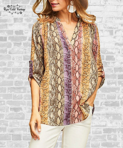 Snakeskin Button Tab Tunic Top - Multicolor