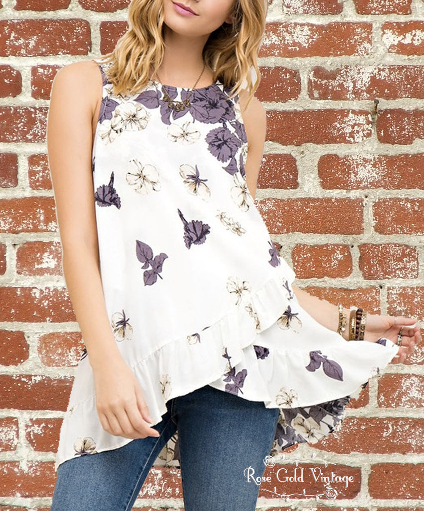 Floral Wrap Top - Ivory/Plum