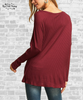 Tie Front Waffle Knit Top - Burgundy