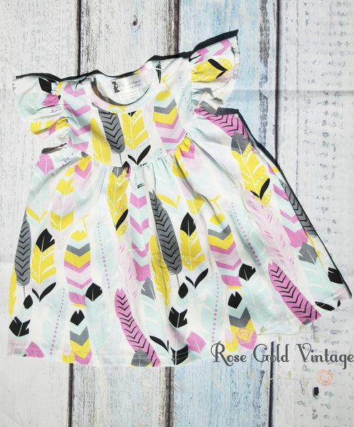 Flutter Sleeve Dress - Feather Print
