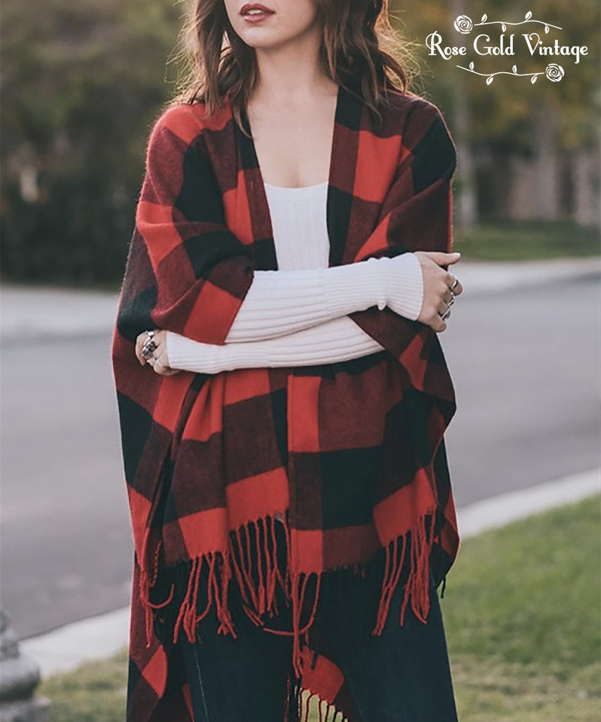 Buffalo Check Fringe Poncho - Red & Black