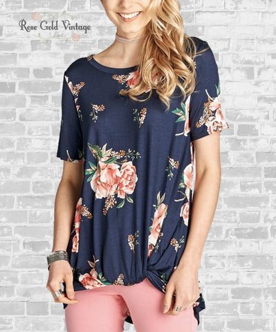 Floral Knot Tee - Navy