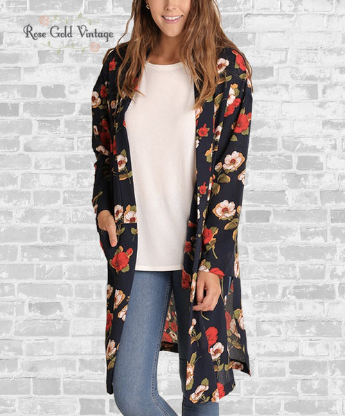 Long Floral Cardigan with Pockets - Navy