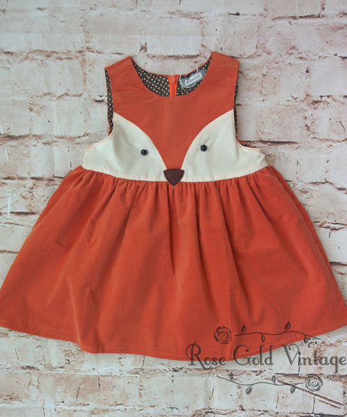 Corduroy Fox Dress Toddler Rose Gold Vintage