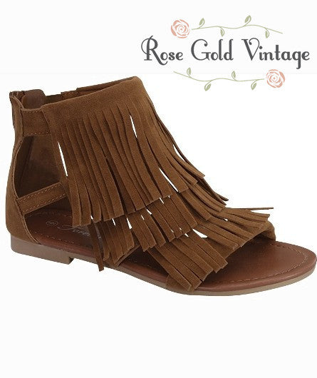 Fringe Flat Sandals - Brown (Ladies)