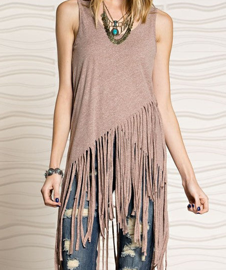 Tri-Blend Fringe Tank - Rust Heather (Ladies)
